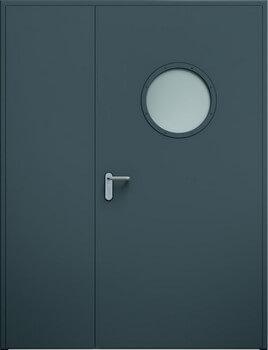 Drzwi ECO dwuskrzydłowe niesymetryczne, bulaj | RAL 7016