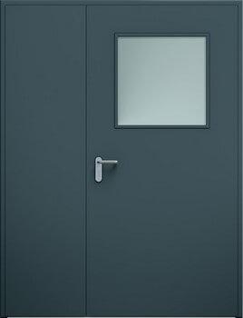 Drzwi ECO dwuskrzydłowe niesymetryczne, przeszklenie | RAL 7016