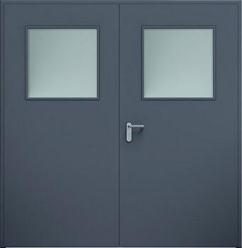 Drzwi ECO dwuskrzydłowe, przeszklenie | Antracyt