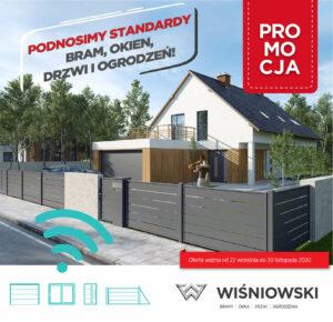 Promocja Wiśniowski Podnosimy Standardy bram, okien, drzwi i ogrodzeń. Adams Salon partnerski Żary
